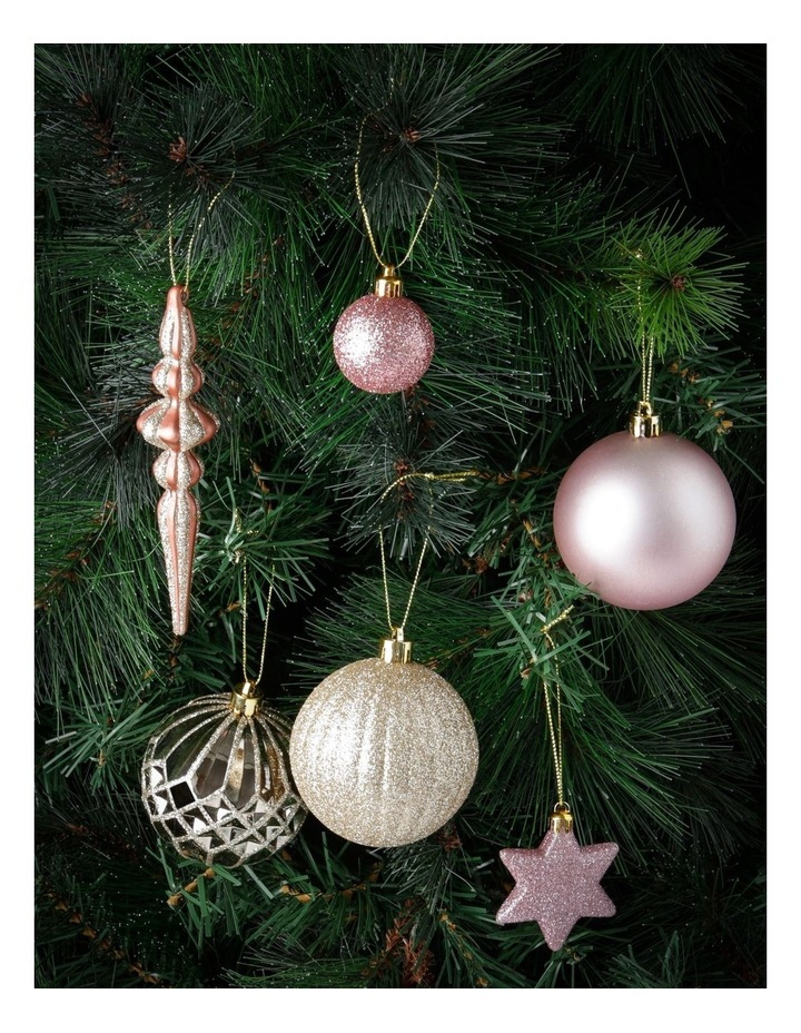 Luxe Assorted Champagne & Pink Shatter-Resistant Ornaments 50pk image 2