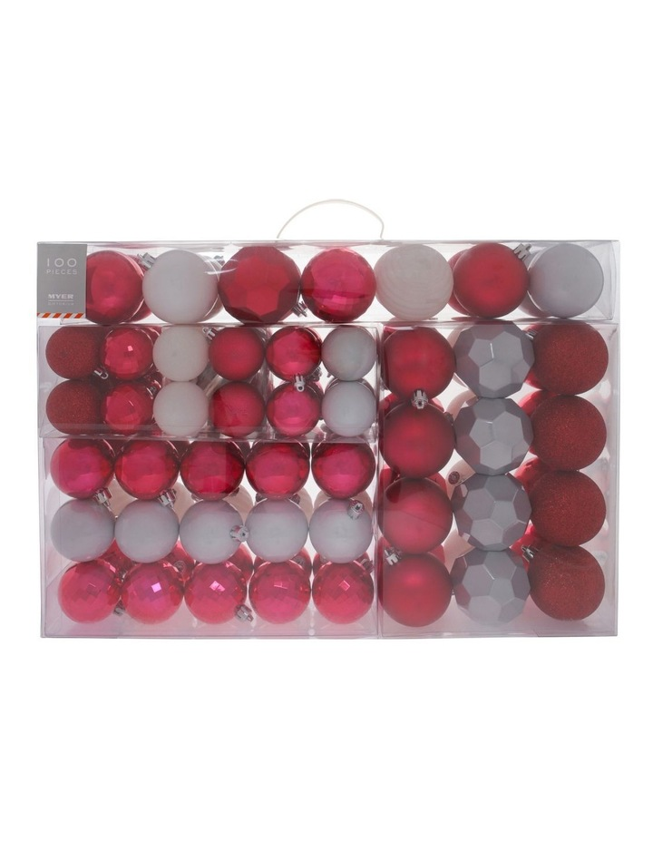 Merry & Bright Assorted Red & White Shatter-Resistant Baubles 100pk image 1