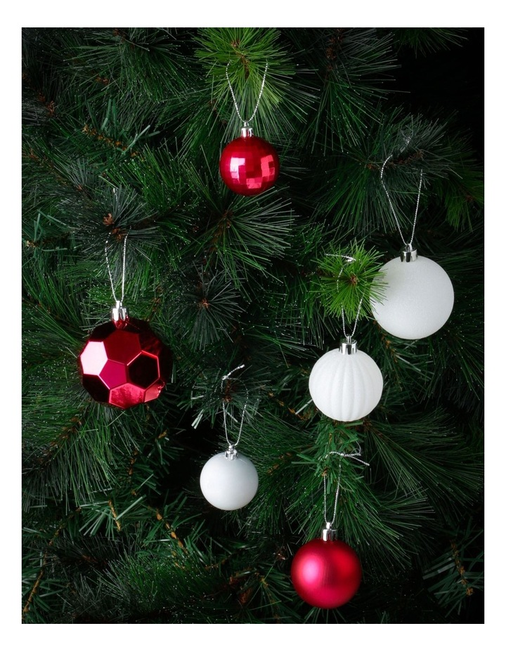 Merry & Bright Assorted Red & White Shatter-Resistant Baubles 100pk image 2