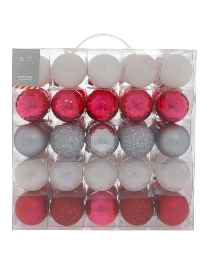 Merry & Bright Assorted Red & White Shatter-Resistant Baubles 50pk image 1