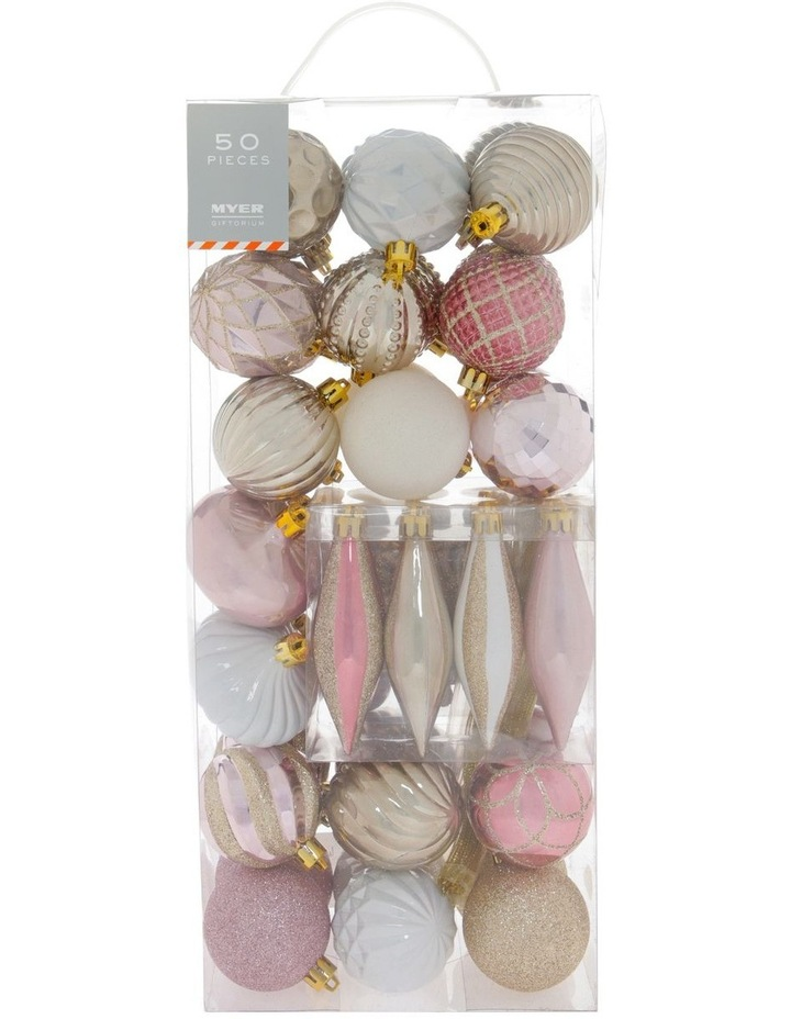 Luxe Assorted Deluxe Champagne & Pink Shatter-Resistant Ornaments 50pk image 1