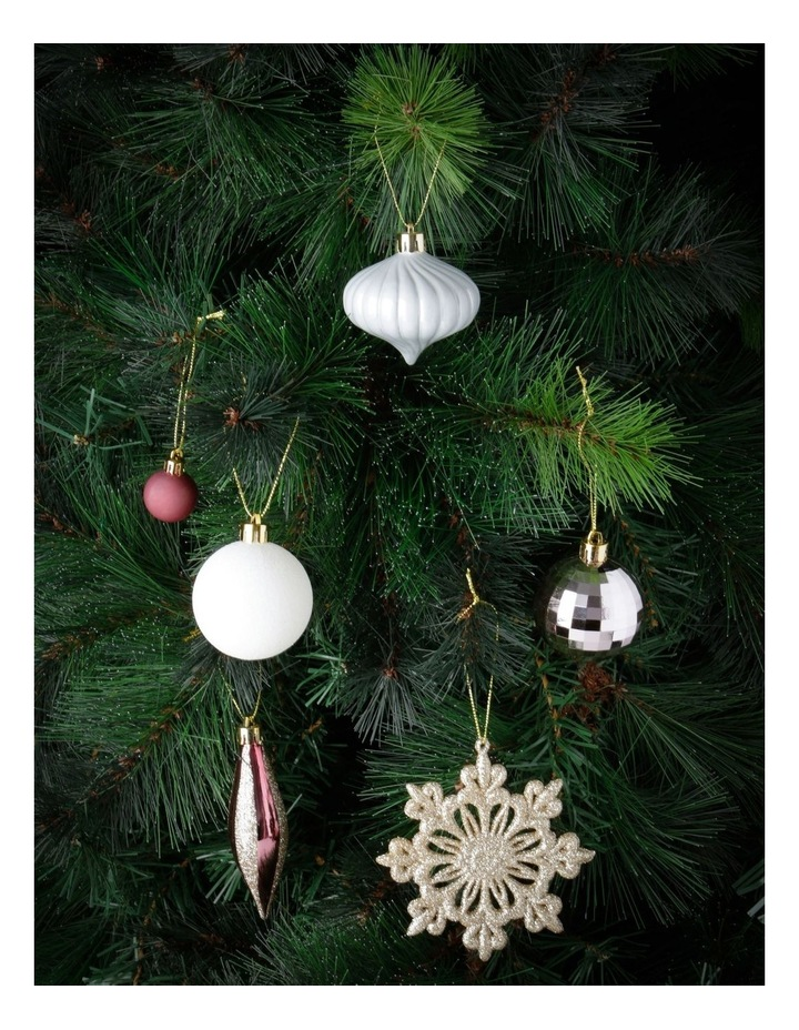 Luxe Assorted Deluxe Champagne & Pink Shatter-Resistant Ornaments 50pk image 2