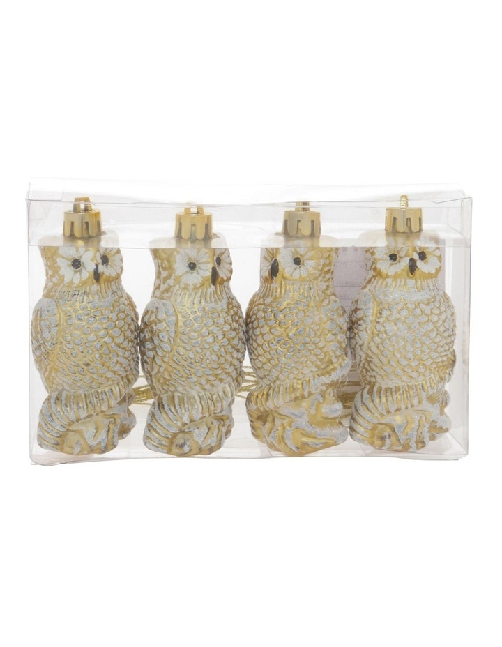 Heirloom Set of 4 Champagne Owl Hanging Ornaments image 1