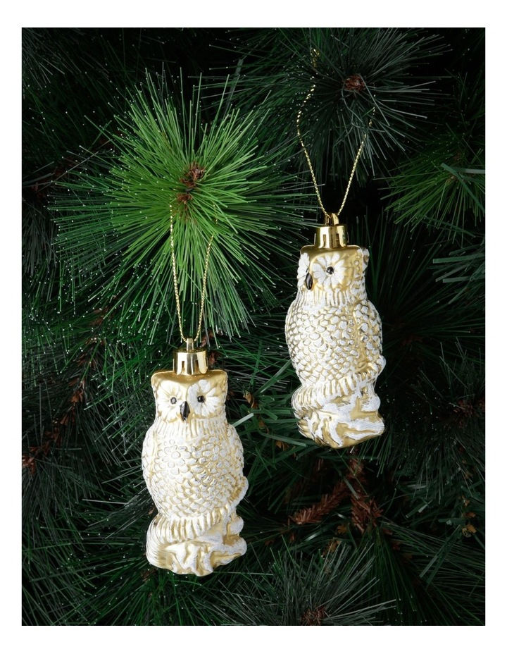 Heirloom Set of 4 Champagne Owl Hanging Ornaments image 2