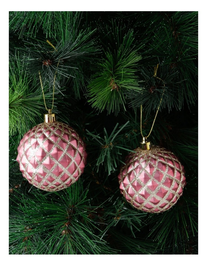 Luxe Pink Glitter Diamond Bauble 4 Pack image 2
