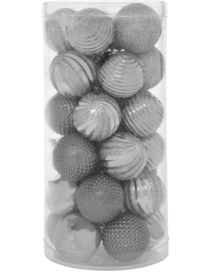Eucalyptus Assorted Silver Shatter-Resistant Baubles 30pk image 1