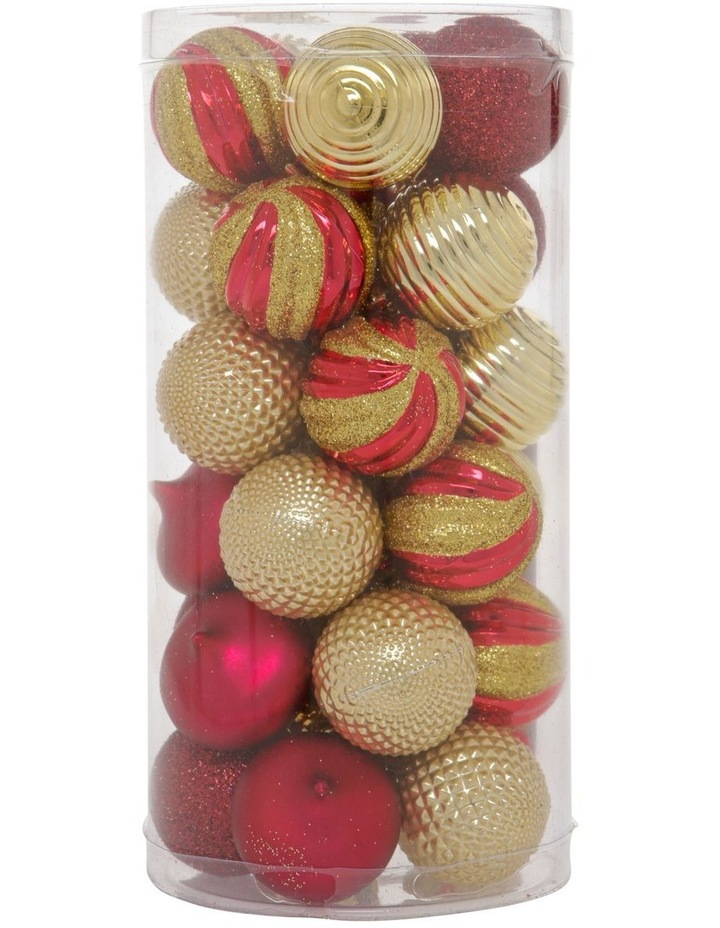 Heirloom Assorted Gold & Red Shatter-Resistant Baubles 30pk image 1