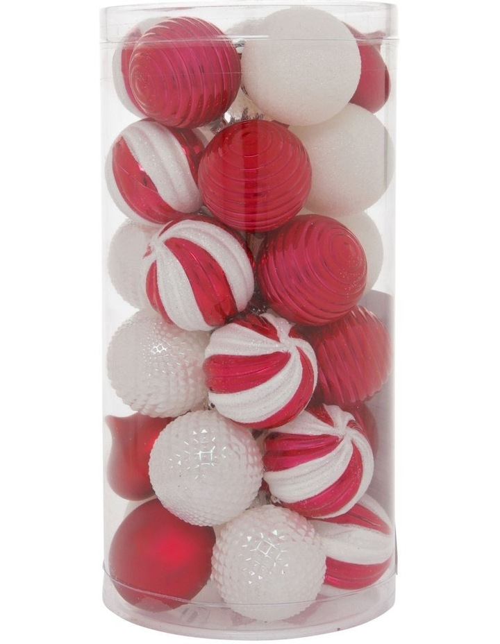 Merry & Bright Assorted White & Red Shatter-Resistant Baubles 30pk image 1