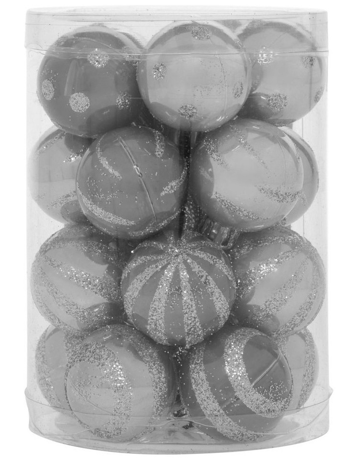 Eucalyptus Assorted Silver Shatter-Resistant Baubles 20pk image 1