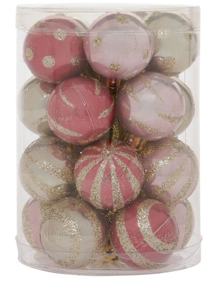 Luxe Assorted Pink & Champagne Shatter-Resistant Baubles 20pk image 1