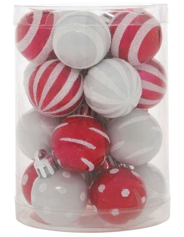 Merry & Bright Assorted White & Red Shatter-Resistant Baubles 20pk image 1