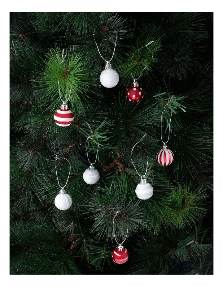 Merry & Bright Assorted White & Red Shatter-Resistant Baubles 20pk image 2