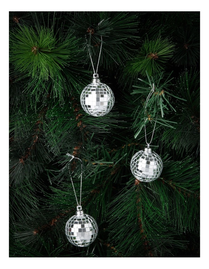 Merry & Bright Silver Mirror Ball Ornament 6 Pack image 2