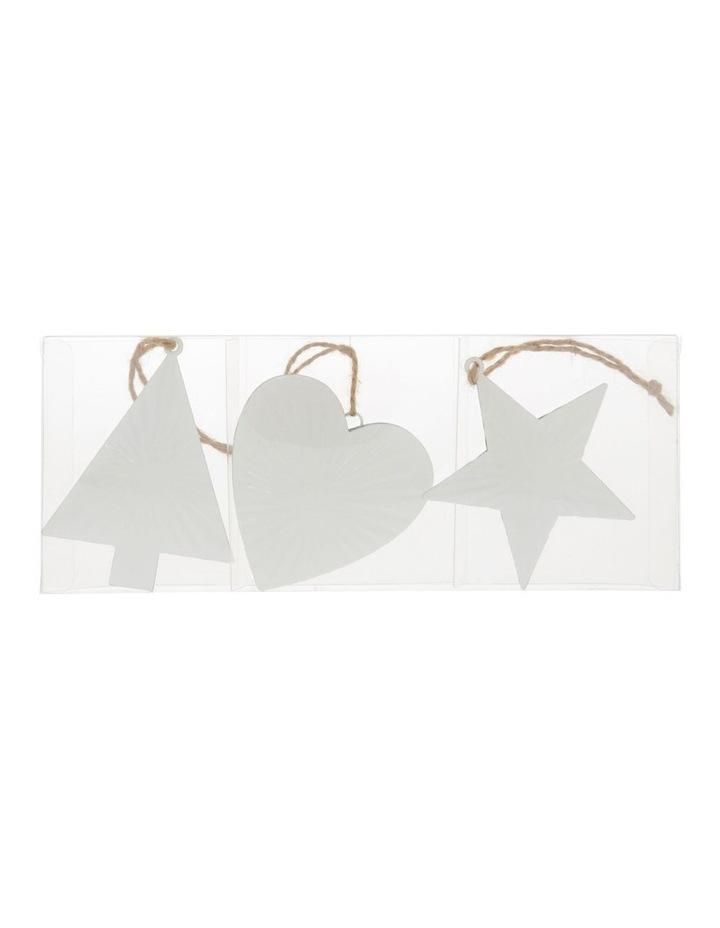 Eucalyptus White Metal Heart, Star & Tree Ornament 3 Pack image 1