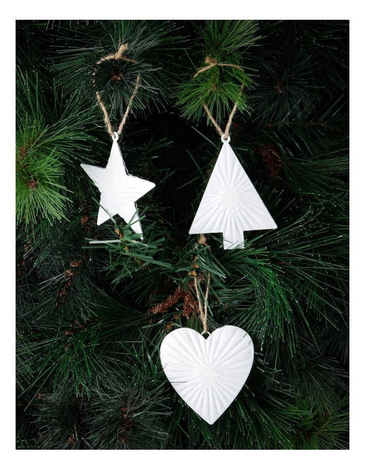 Eucalyptus White Metal Heart, Star & Tree Ornament 3 Pack image 2