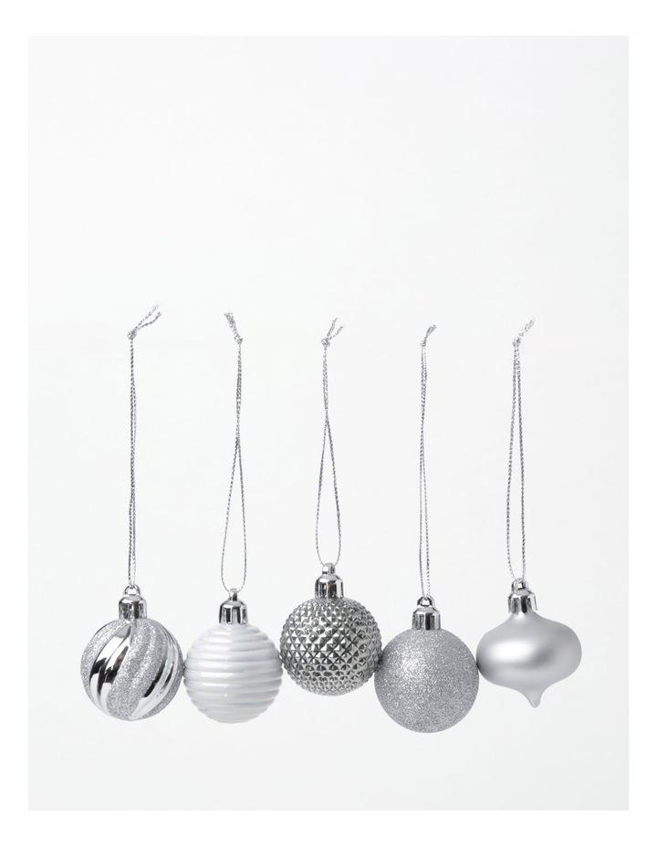 EC 30 Pack Shatterproof Baubles- Silver/White: 4cm image 2