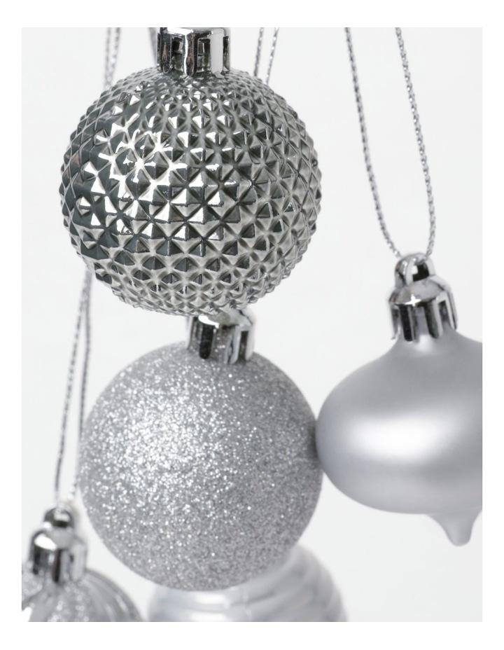 EC 30 Pack Shatterproof Baubles- Silver/White: 4cm image 3
