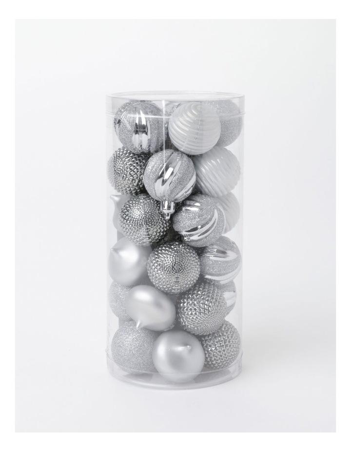 EC 30 Pack Shatterproof Baubles- Silver/White: 4cm image 4