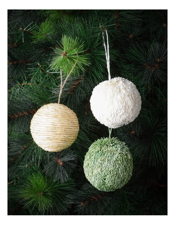 Eucalyptus Set of 3 Straw & Paper Baubles- Natural/Green/White: 8cm image 1