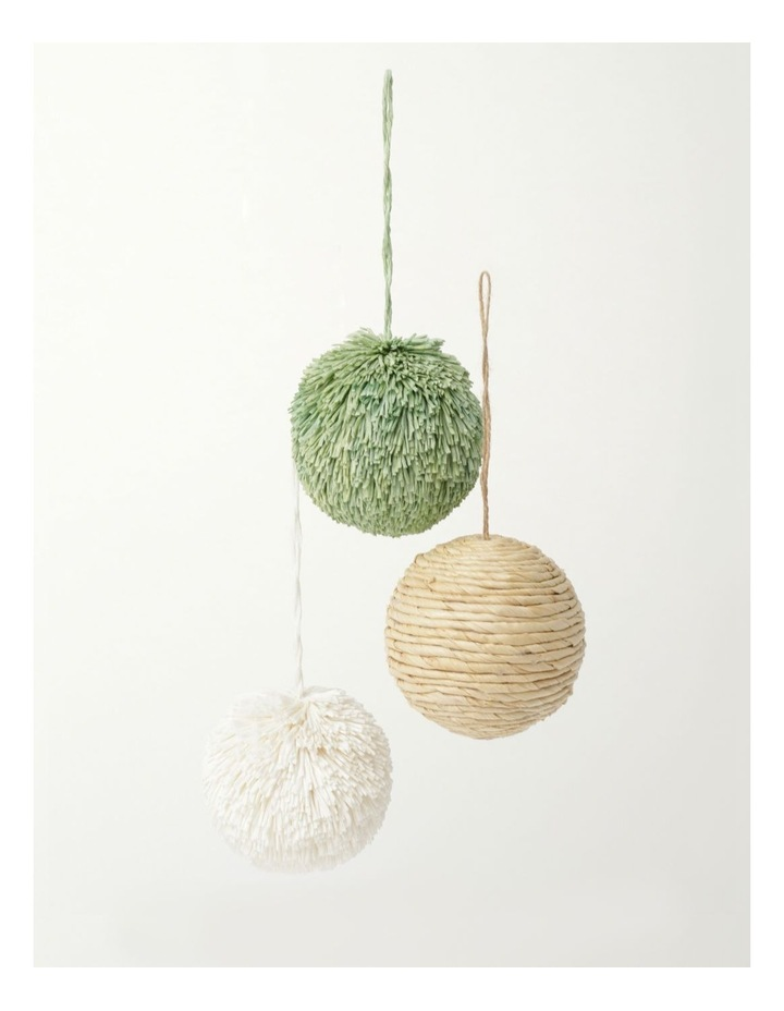 Eucalyptus Set of 3 Straw & Paper Baubles- Natural/Green/White: 8cm image 2