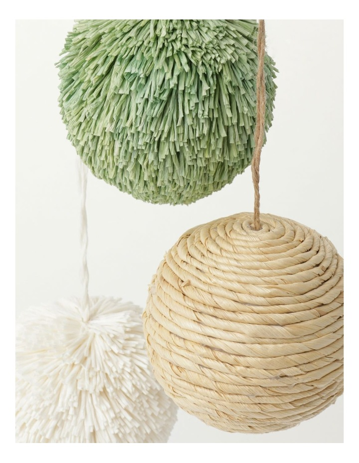 Eucalyptus Set of 3 Straw & Paper Baubles- Natural/Green/White: 8cm image 3