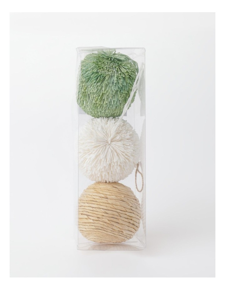 Eucalyptus Set of 3 Straw & Paper Baubles- Natural/Green/White: 8cm image 4