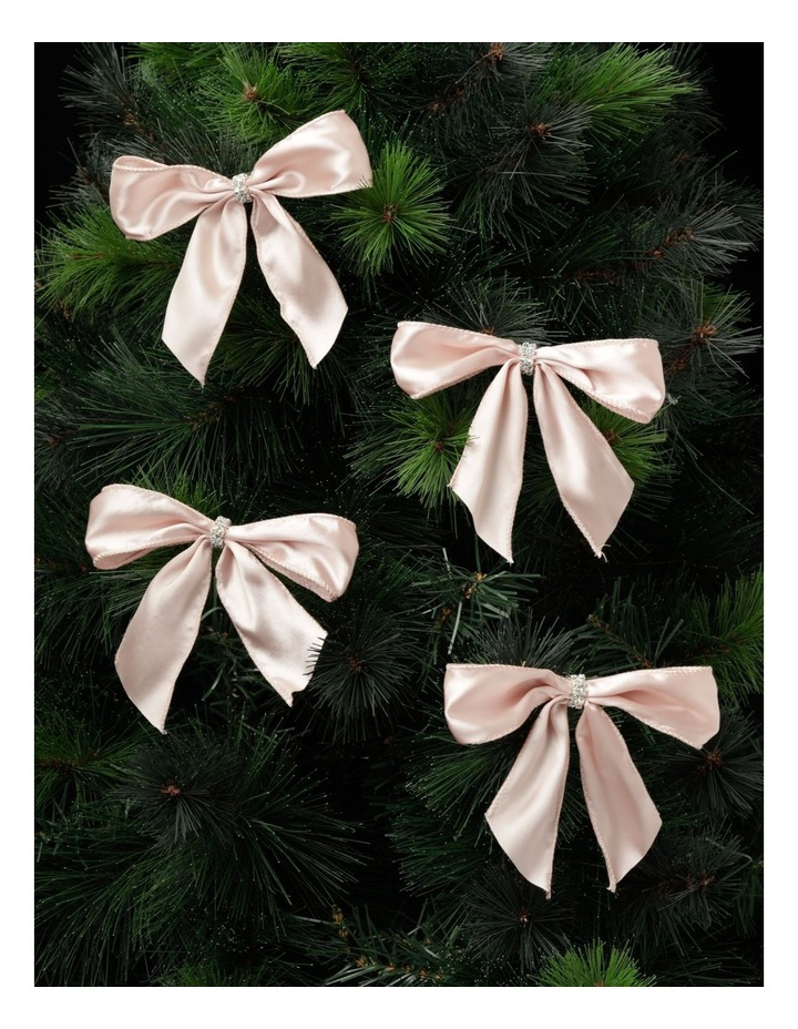 Luxe Fabric Set Of 4 Satin Bow & Jewel Clip- Pink: 14 cm image 1