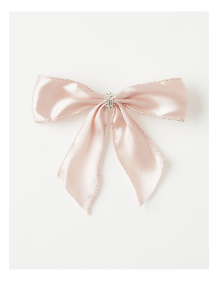 Luxe Fabric Set Of 4 Satin Bow & Jewel Clip- Pink: 14 cm image 2