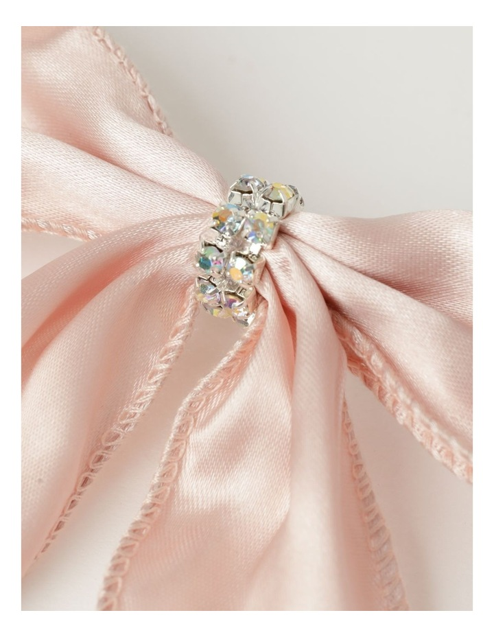 Luxe Fabric Set Of 4 Satin Bow & Jewel Clip- Pink: 14 cm image 3