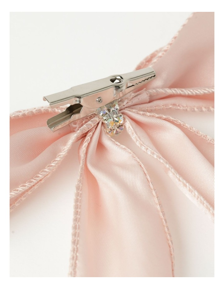 Luxe Fabric Set Of 4 Satin Bow & Jewel Clip- Pink: 14 cm image 4