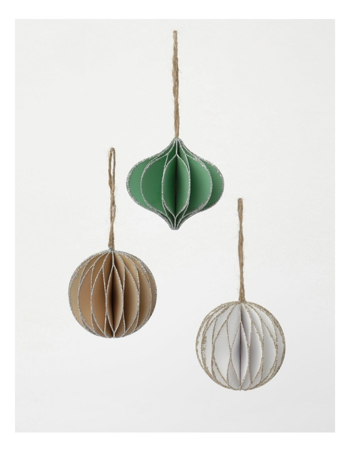 Eucalyptus 4Pk Paper Accordion Onion & Bauble Ornament- White/Green/Gumnut: 8 Cm image 1