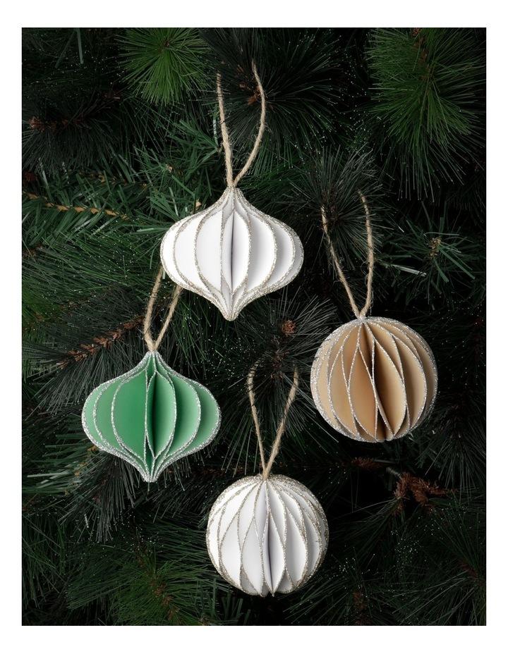 Eucalyptus 4Pk Paper Accordion Onion & Bauble Ornament- White/Green/Gumnut: 8 Cm image 2