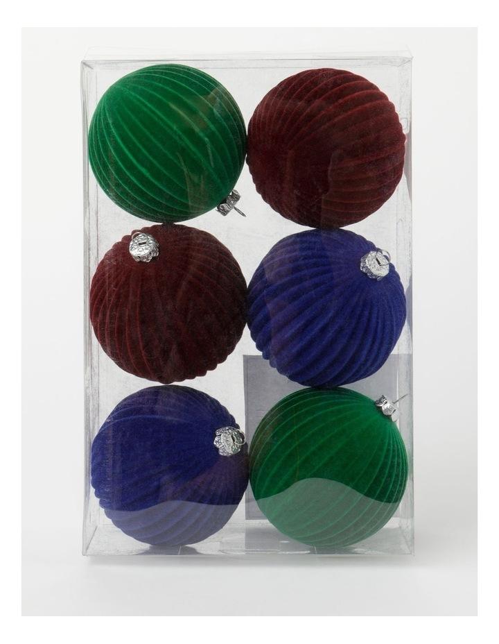 Heirloom 6Pk Plastic Flocked Bauble- Red/Green/Blue: 10 Cm image 1