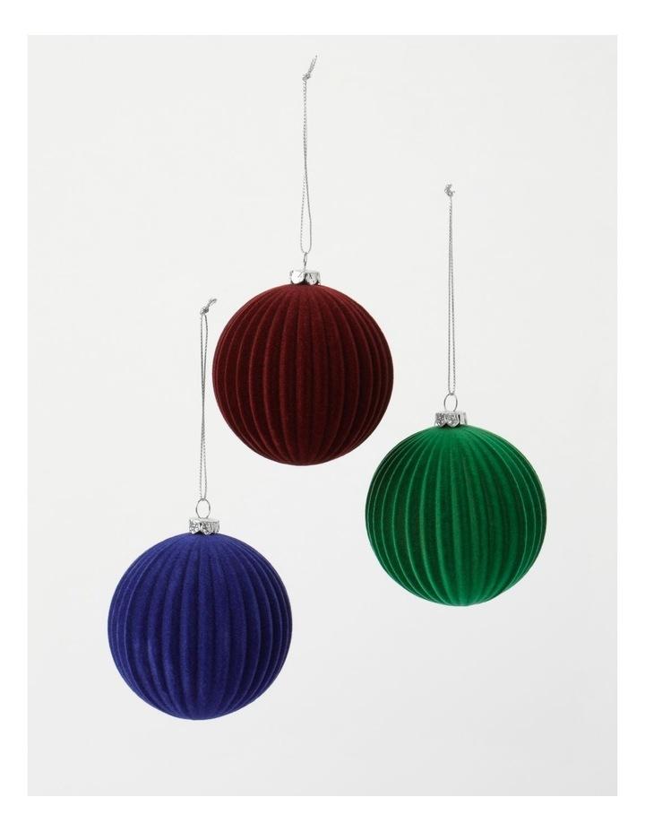 Heirloom 6Pk Plastic Flocked Bauble- Red/Green/Blue: 10 Cm image 3