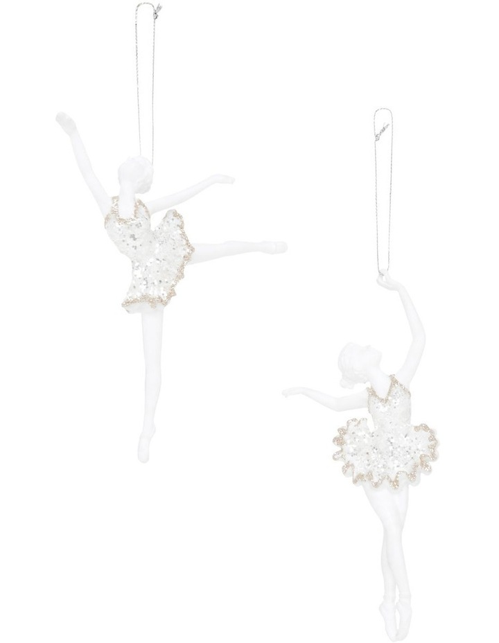 Luxe White Plastic Ballerina With Silver And Champagne Glitter image 1