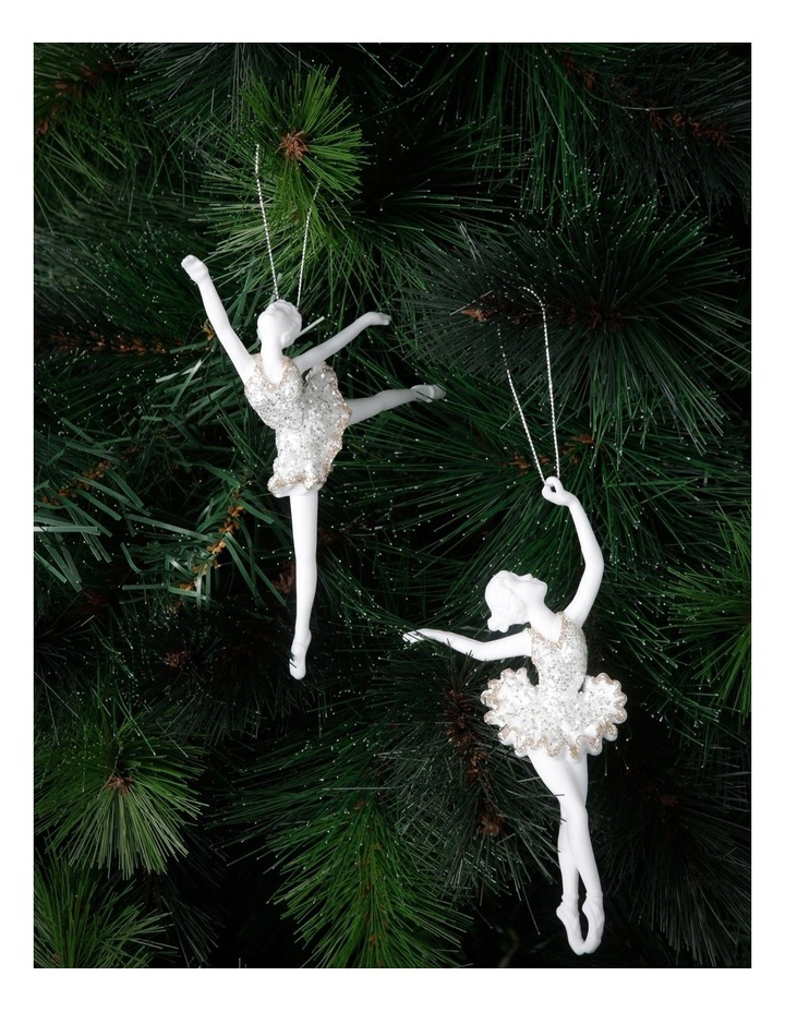 Luxe White Plastic Ballerina With Silver And Champagne Glitter image 2