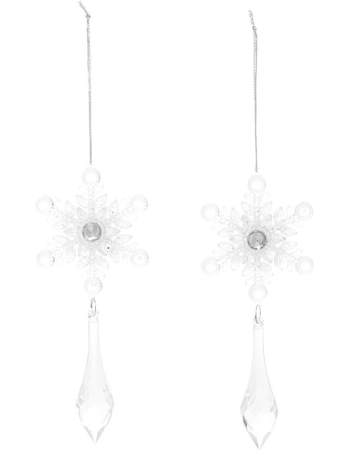 Luxe Assorted Plastic Snowflake with Dangling Jewel - Clear: 14cm image 1
