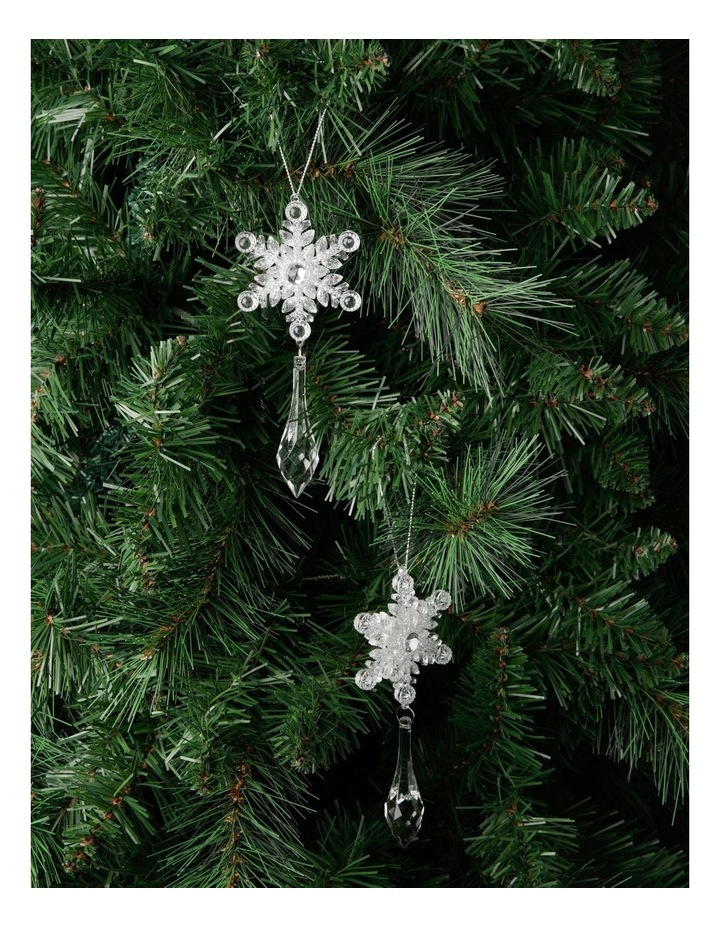 Luxe Assorted Plastic Snowflake with Dangling Jewel - Clear: 14cm image 2