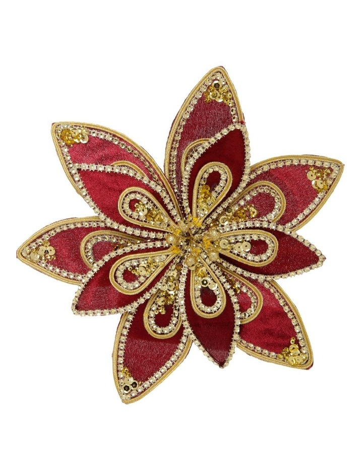 Heirloom Velvet Red/Gold Poinsettia Clip-On Ornament image 1
