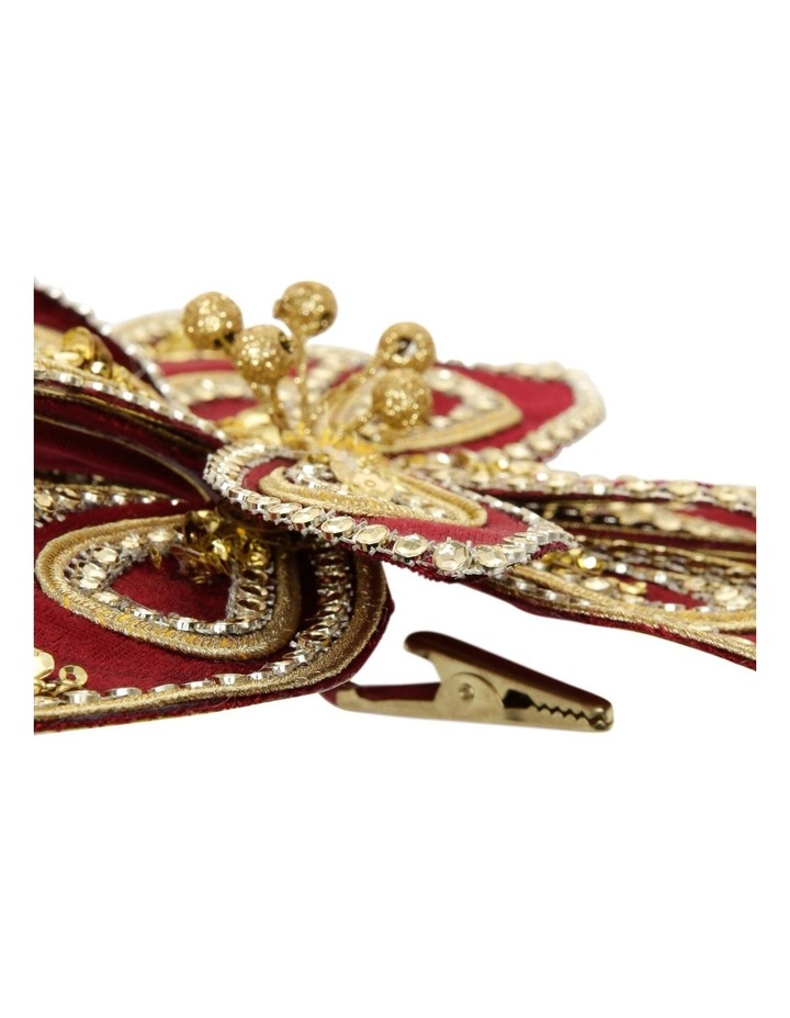 Heirloom Velvet Red/Gold Poinsettia Clip-On Ornament image 2