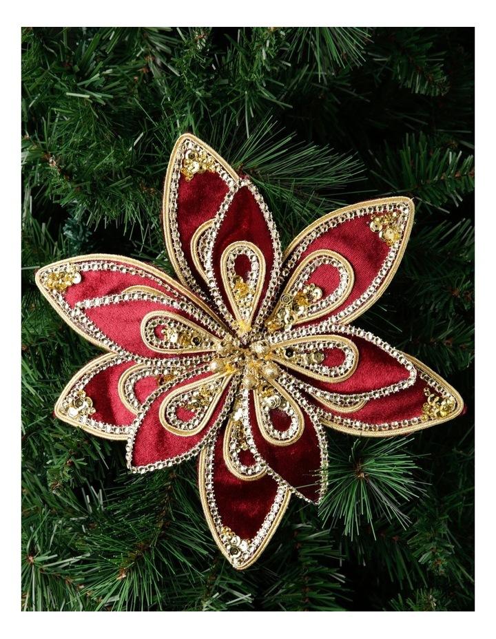 Heirloom Velvet Red/Gold Poinsettia Clip-On Ornament image 3