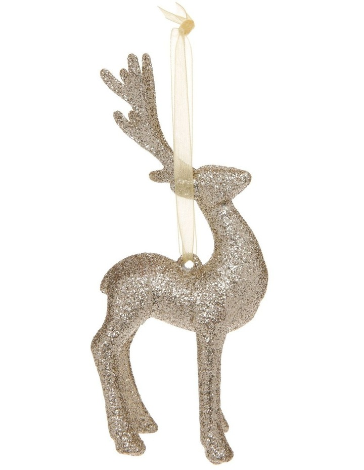 Luxe Glitter Reindeer Hanging Gold Glitter Plastic image 1