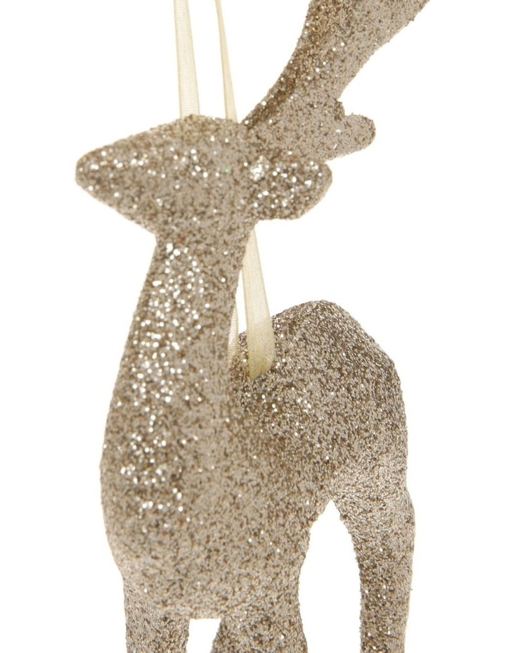 Luxe Glitter Reindeer Hanging Gold Glitter Plastic image 2