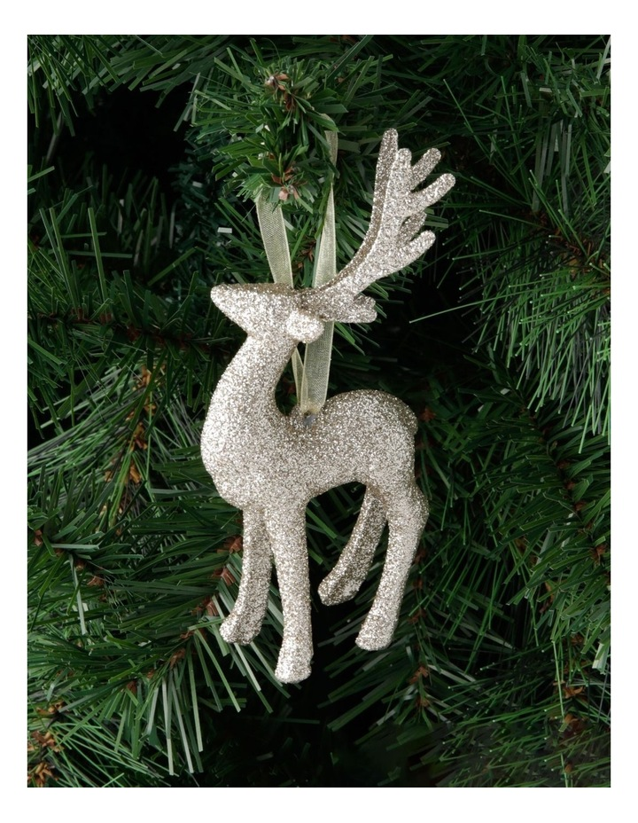 Luxe Glitter Reindeer Hanging Gold Glitter Plastic image 3