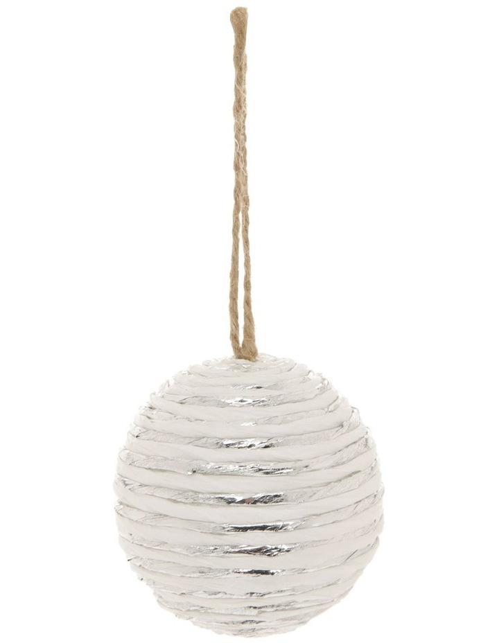 Eucalyptus Styrofoam Paper & Yarn Wrapped Bauble Ornament - White 8 cm image 1