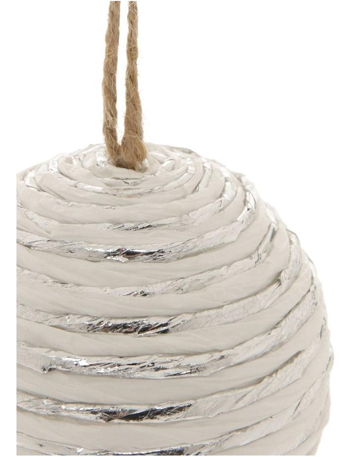 Eucalyptus Styrofoam Paper & Yarn Wrapped Bauble Ornament - White 8 cm image 2