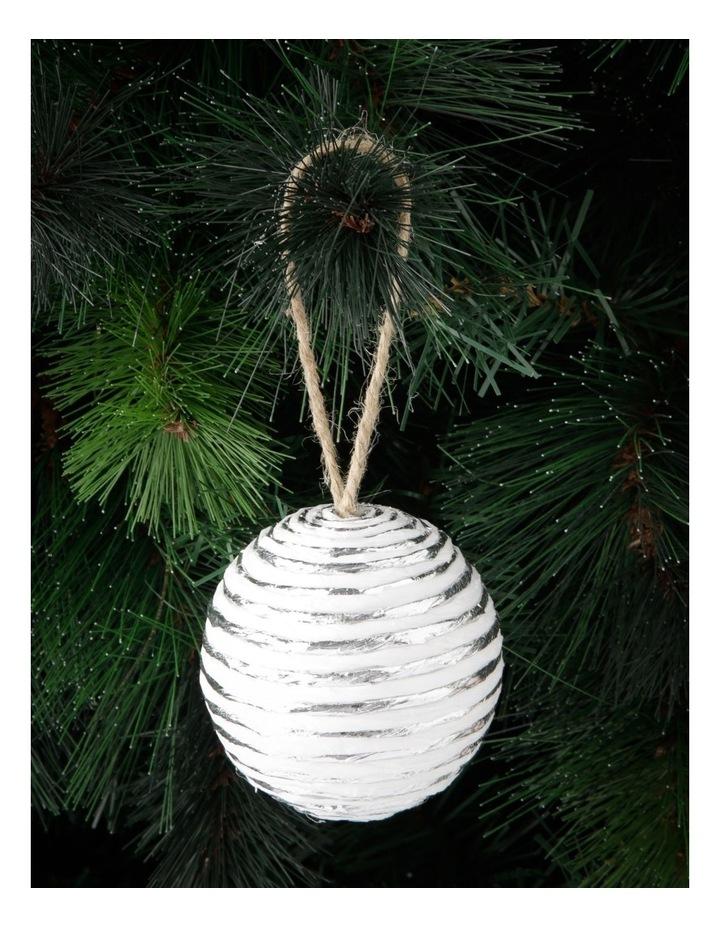 Eucalyptus Styrofoam Paper & Yarn Wrapped Bauble Ornament - White 8 cm image 3