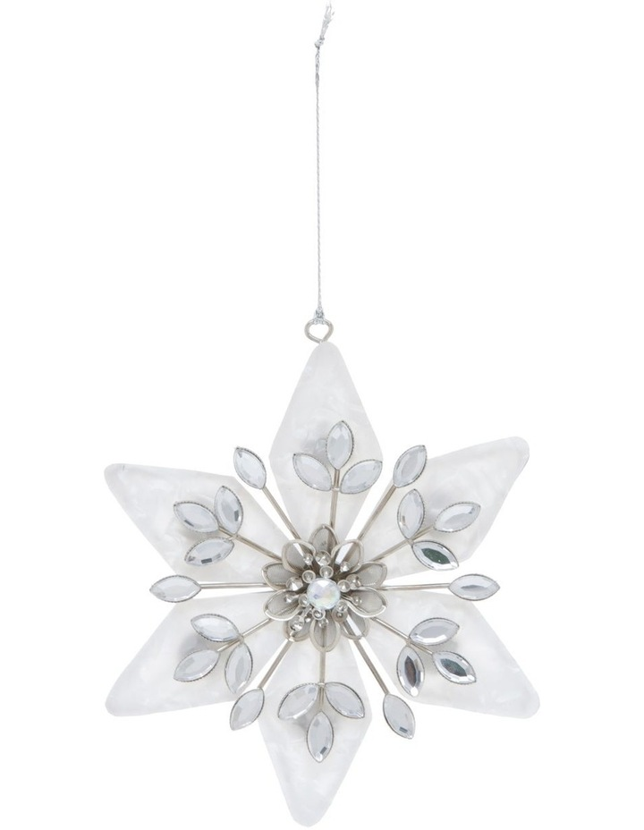 Luxe Plastic Capiz Snowflake Hanging Ornament - White/Silver 11 cm image 1