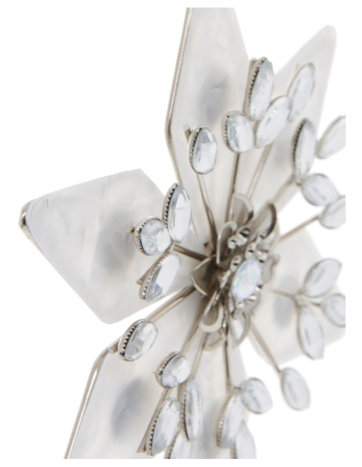 Luxe Plastic Capiz Snowflake Hanging Ornament - White/Silver 11 cm image 2