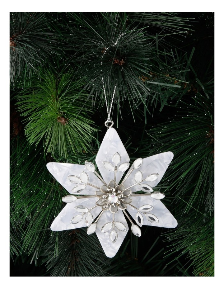 Luxe Plastic Capiz Snowflake Hanging Ornament - White/Silver 11 cm image 3